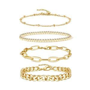 14K Gold Beaded Bracelets Set